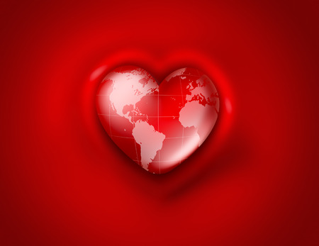 the world in the shape of heart on red background photo