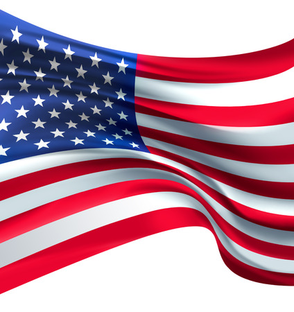 American Flag against white background for Independence Day photo