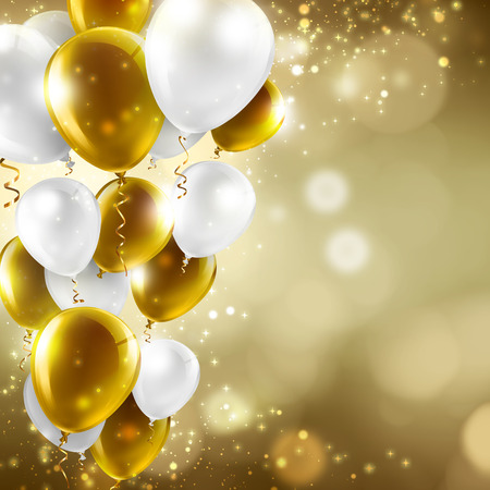 gold and white balloons on abstract blurred lights - festive background photo