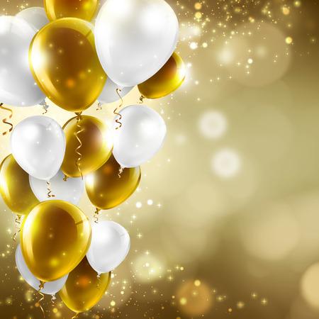 globos de cumpleaños: oro y globos blancos en luces borrosas abstractas - fondo festivo