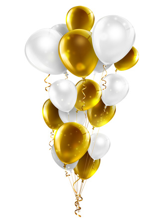gold and white balloons on a white background