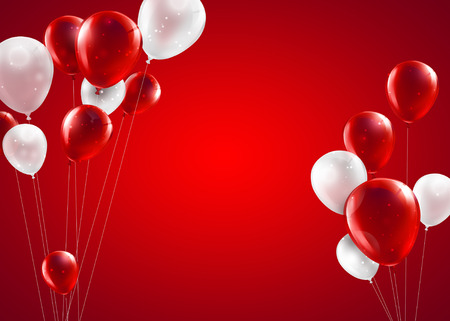 festive background with red and white balloons