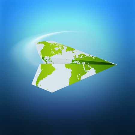 travel locations: paper airplane with world map on blue background - travel concept