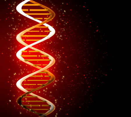 researches: glowing DNA strands on a dark background
