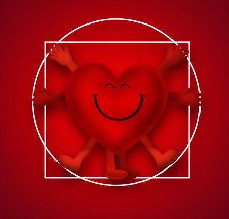 sports symbols metaphors: Smiling heart as the Vitruvian Man