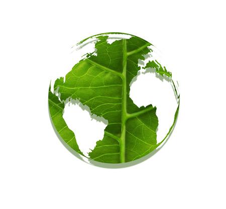 sostenibilidad: mundo hecho de hoja - Concepto de medio ambiente Foto de archivo