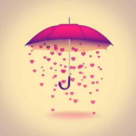 umbrella with hearts on light background - retro style photo