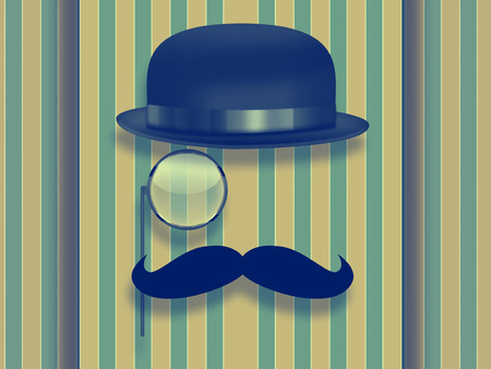 monocle: retro hipster design with glasses, hat and monocle