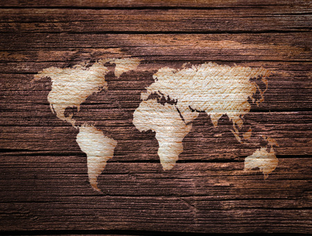 worldmap: wooden surface with world map