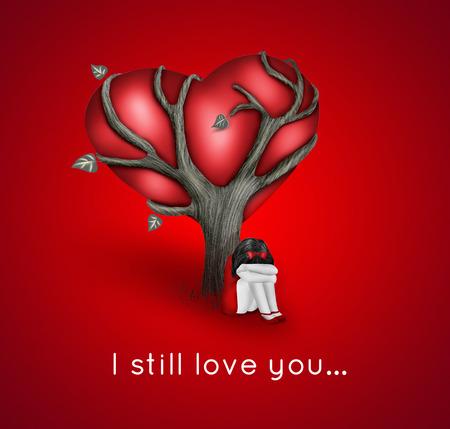 fille triste: carte romantique fille triste avec près de l'arbre avec le coeur rouge Banque d'images