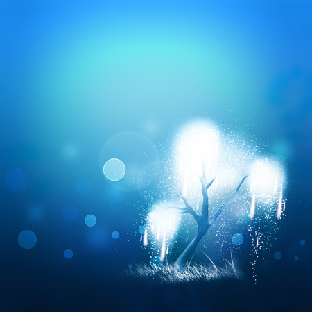 magic shining tree on a blue background