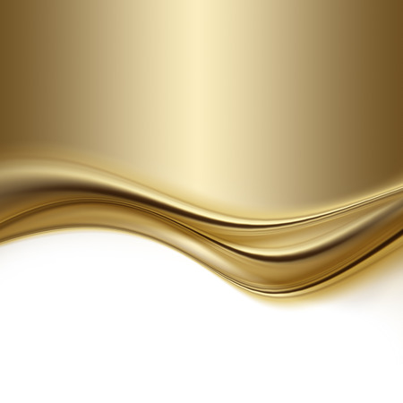 wave: abstract gold background with smooth lines Stock Photo