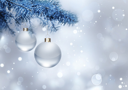silver balls: silver christmas background with balls