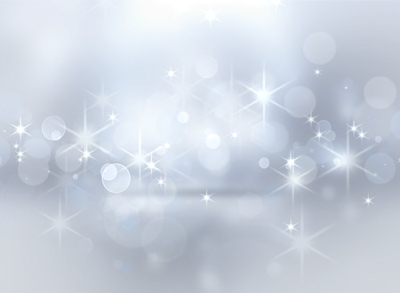 backdrop: silver shining Christmas background with bokeh effect