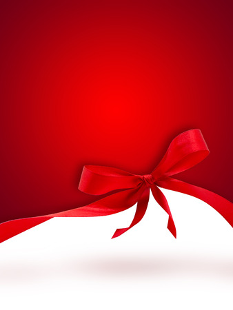 Red Christmas background with a bow