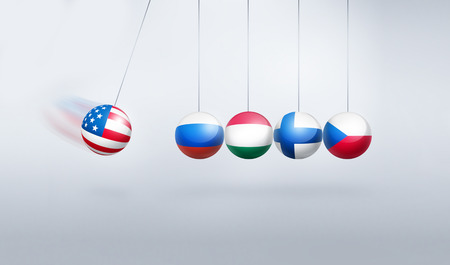 sanctions - conceptual image with the flags of the United States, Russia, Hungary, Czech Republic and Finland