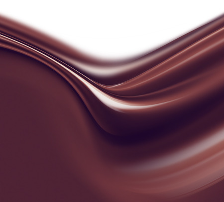 white chocolate: wave of liquid chocolate on white background