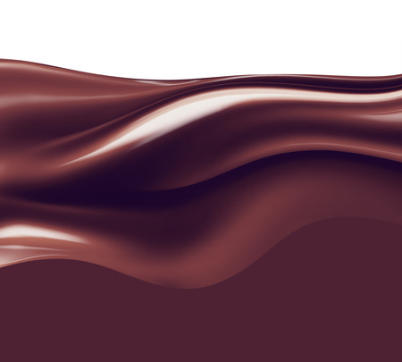 brown: wave of liquid chocolate on white background