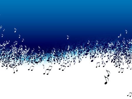 Abstracte muziek achtergrond met notities op een blauwe achtergrond