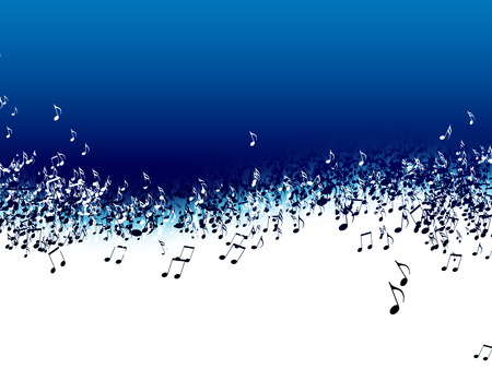 abstract music background with notes on a blue backdrop