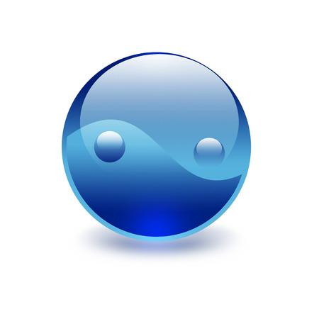 blue yin yang symbol on a white background Stock Photo