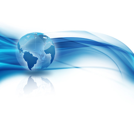 global communications: abstract business background with world Stock Photo