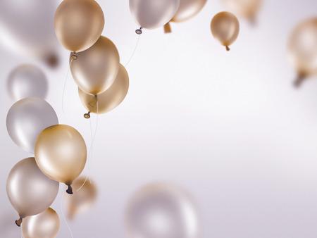 kutlama: Açık zemin üzerine altın ve gümüş balonlar Stok Fotoğraf