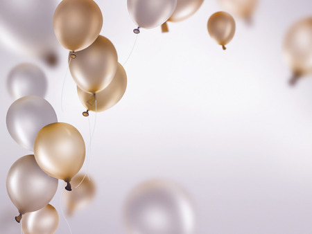 celebra: globos de oro y plata sobre fondo claro