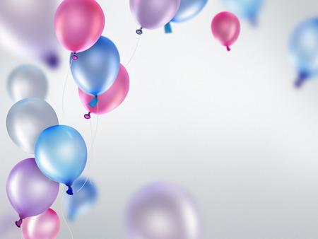 celebra: globos azules y púrpuras rosadas en fondo claro