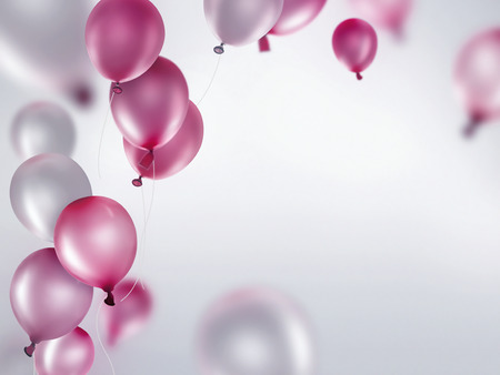 silver and pink balloons on light background Stockfoto