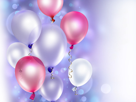 baloon: festive background with pink and purple balloons