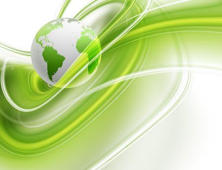 抽象的なビジネスの背景に緑の世界