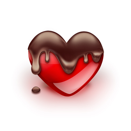 dripping: red heart with dripping chocolate on white