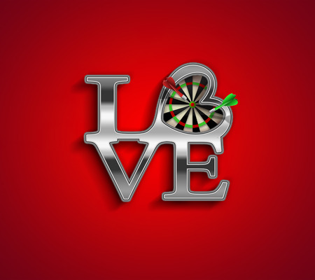 love target: romantic concept background with love letters and darts inside the heart