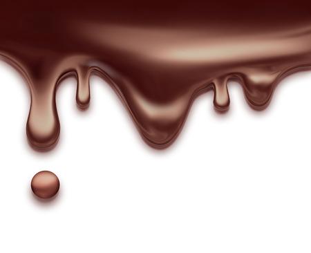 cioccolato liquido che scorre su sfondo bianco