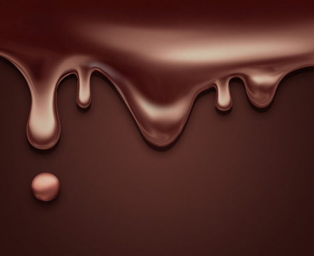 candies: flowing liquid chocolate as background