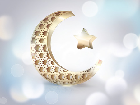 golden star: Islamic crescent and star on light background