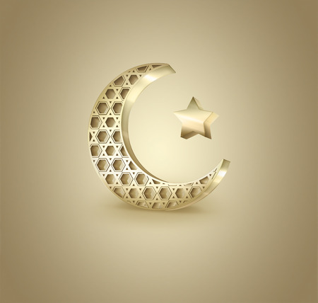 crescent: Islamic crescent and star on light background