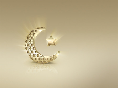 islamic: Islamic crescent and star on light background