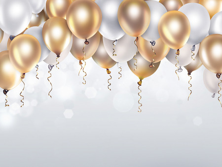 holiday celebration: festive background with gold and white balloons