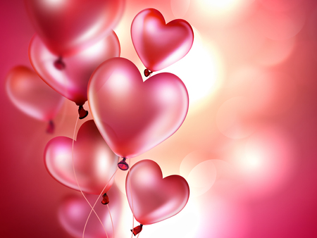 romantic: romantic background with pink balloons in the shape of heart