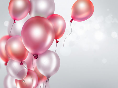 festive background with pink balloons