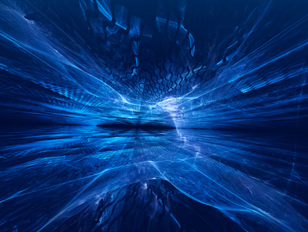 blue background abstract: futuristic background with fractal horizon