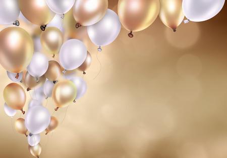 흐린 빛 배경에 금색과 흰색 풍선