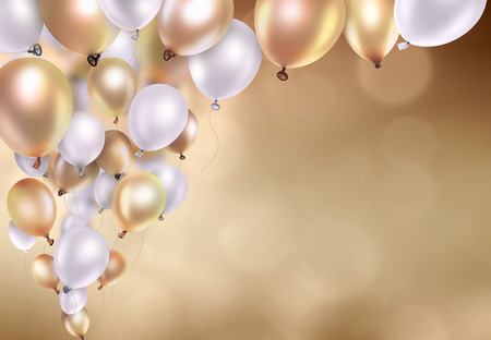 gold and white balloons on blurred light background Archivio Fotografico