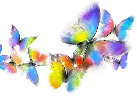 abstract multicolored butterflies on a white background