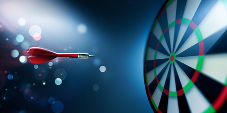 dart on target: dartboard with arrow about hit Stock Photo