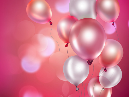 pink balloons: festive background with pink balloons