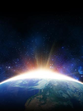 새벽 태양입니다. 우주에서 볼 수 있습니다. NASA가 제공 한이 이미지의 요소
