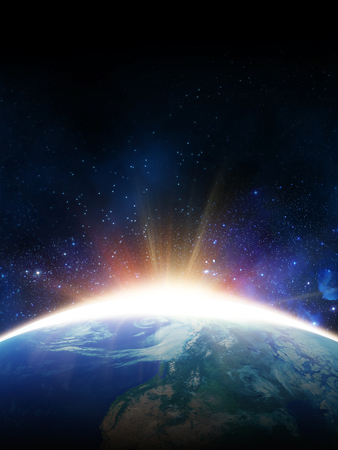 dawn sun. view from space. Elements of this image furnished by NASA Stockfoto